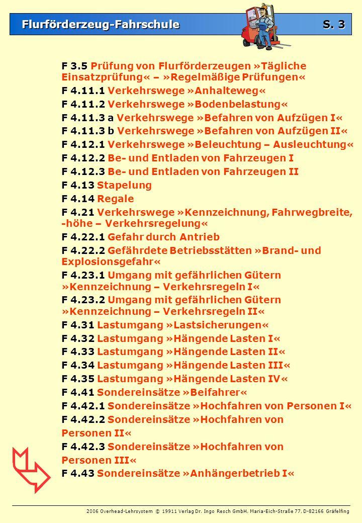 S. 3 F 3.5 Prüfung von Flurförderzeugen »Tägliche Einsatzprüfung« – »Regelmäßige Prüfungen« F 4.11.1 Verkehrswege »Anhalteweg«