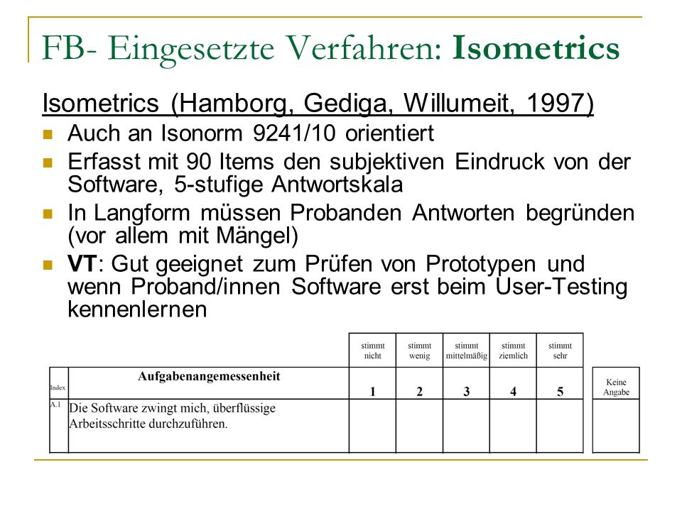 FB- Eingesetzte Verfahren: Isometrics