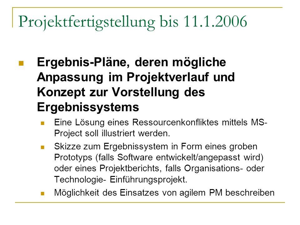 Projektfertigstellung bis 11.1.2006
