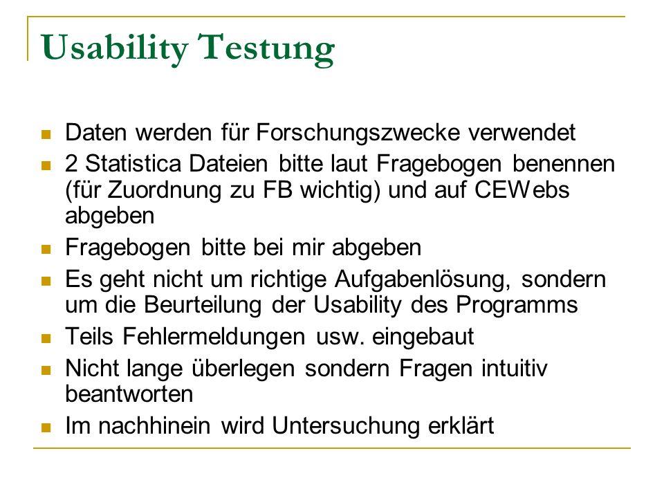 Usability Testung Daten werden für Forschungszwecke verwendet
