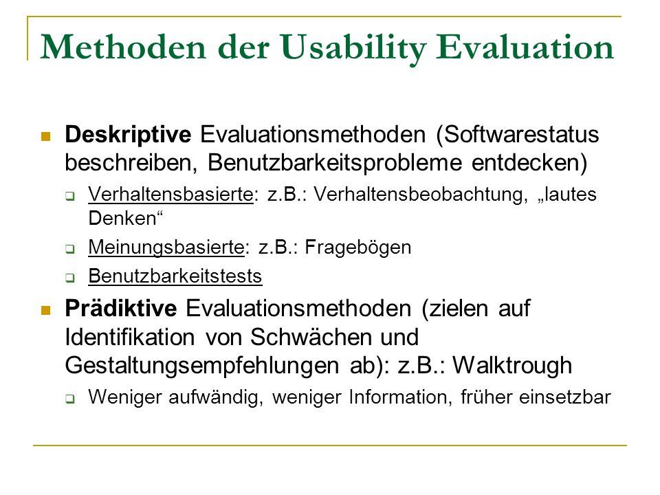Methoden der Usability Evaluation
