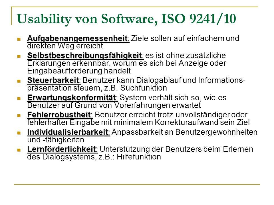 Usability von Software, ISO 9241/10