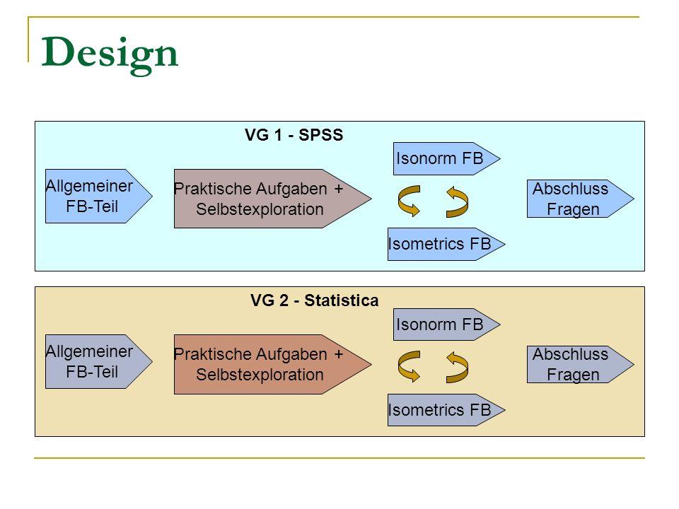 Design VG 1 - SPSS Isonorm FB Allgemeiner Praktische Aufgaben +