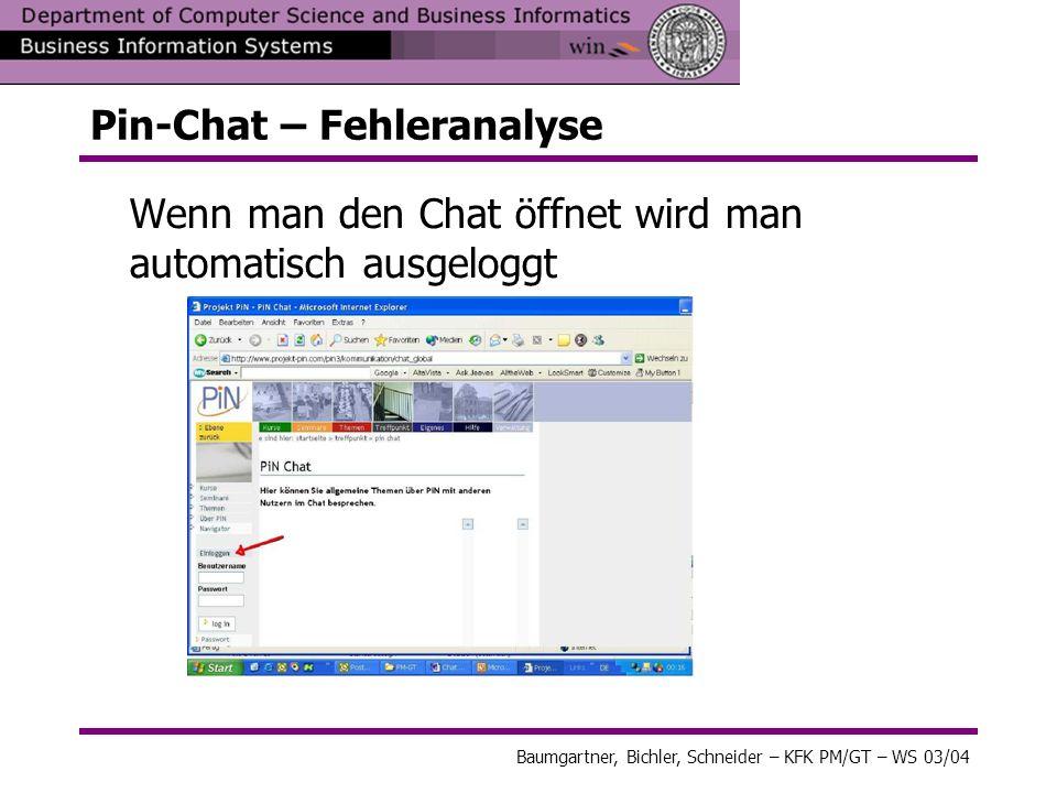 Pin-Chat – Fehleranalyse
