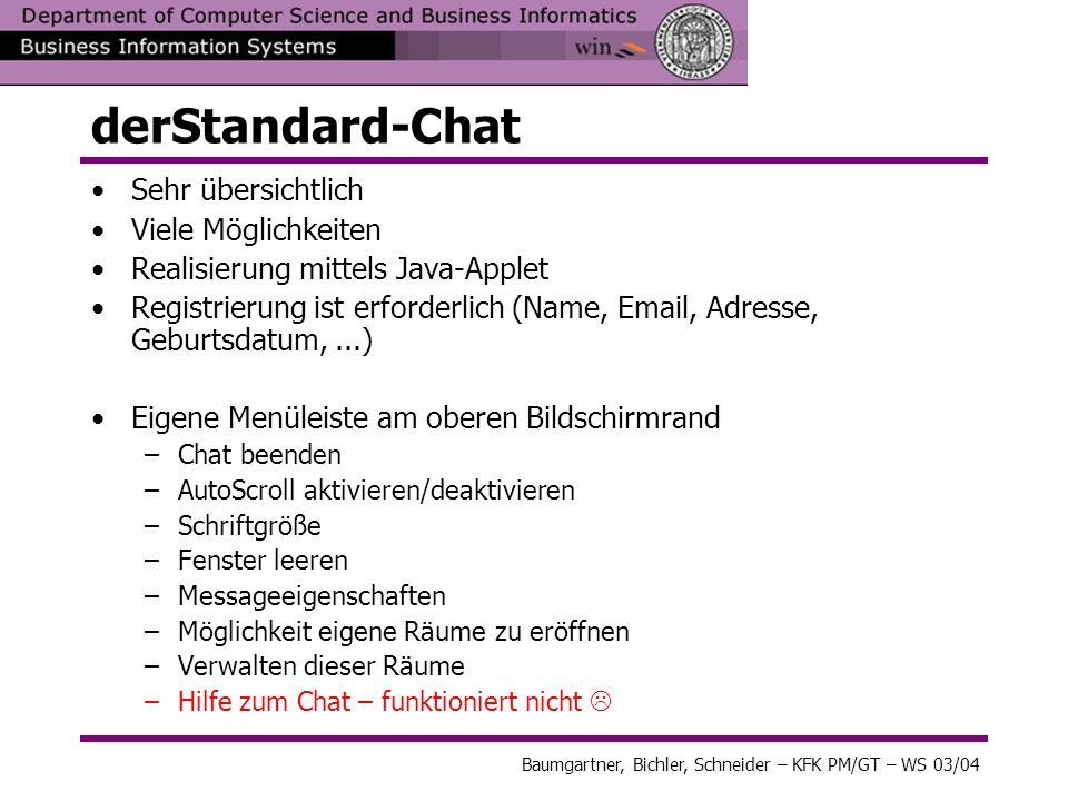 derStandard-Chat Sehr übersichtlich Viele Möglichkeiten