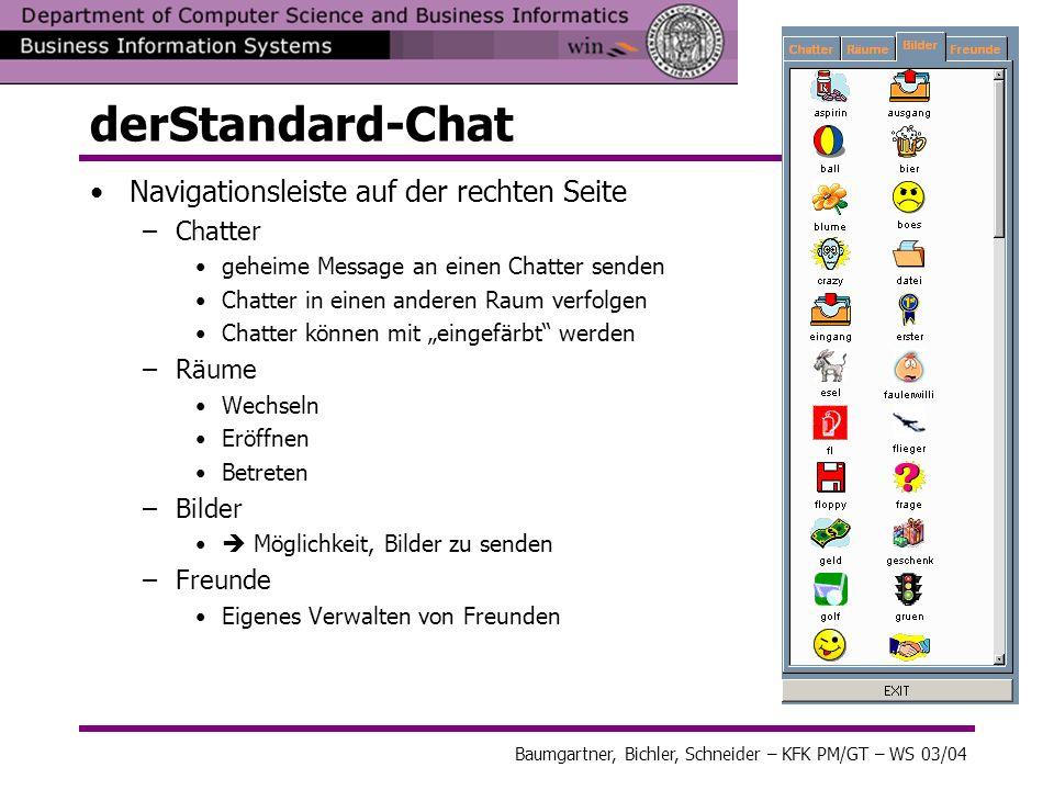derStandard-Chat Navigationsleiste auf der rechten Seite Chatter Räume