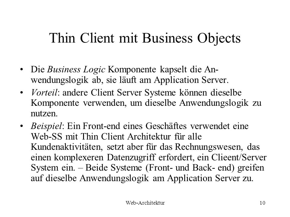Thin Client mit Business Objects