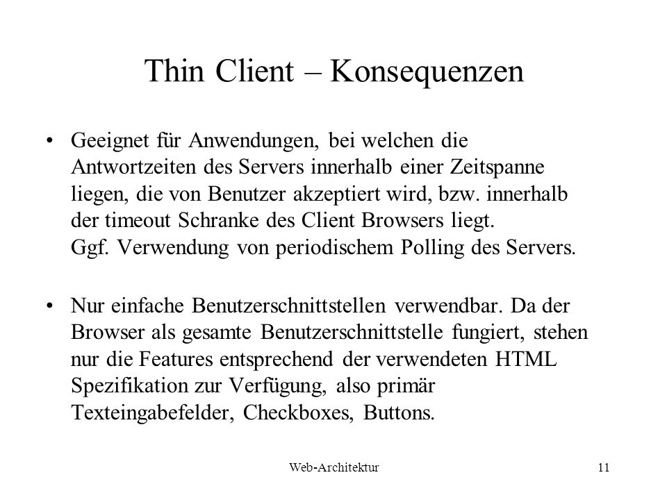 Thin Client – Konsequenzen