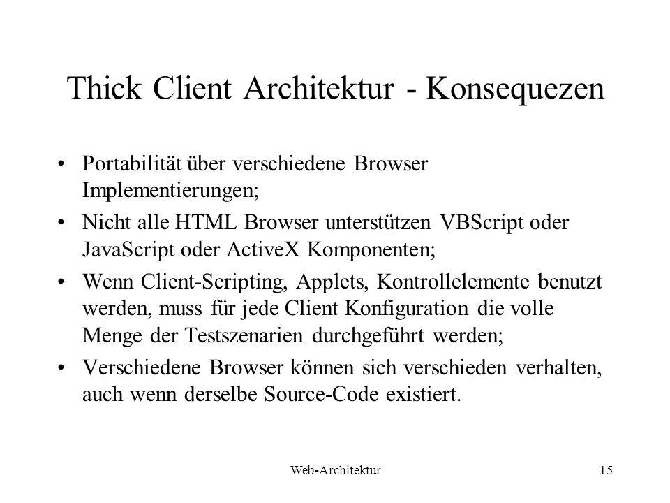 Thick Client Architektur - Konsequezen