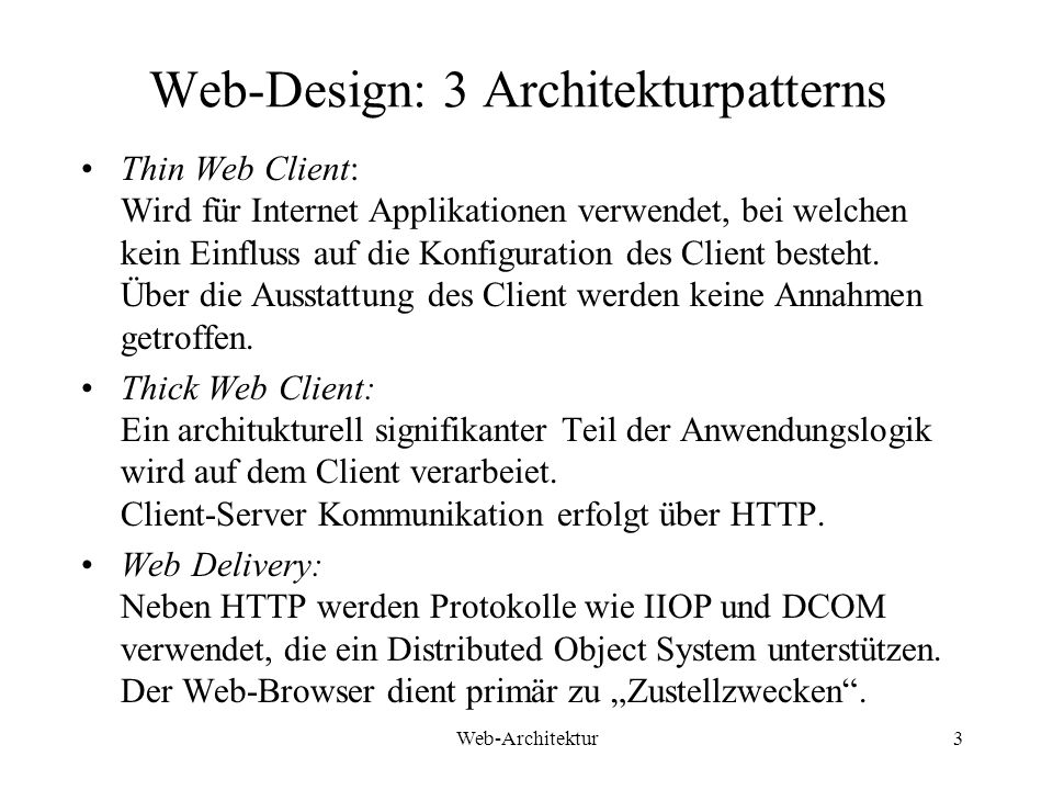 Web-Design: 3 Architekturpatterns