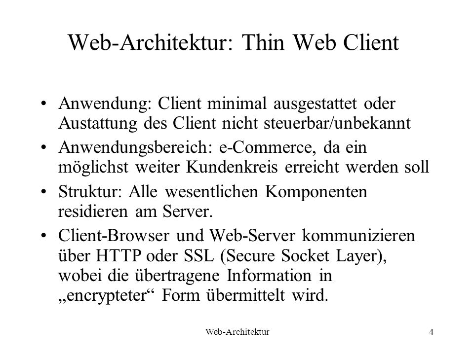 Web-Architektur: Thin Web Client