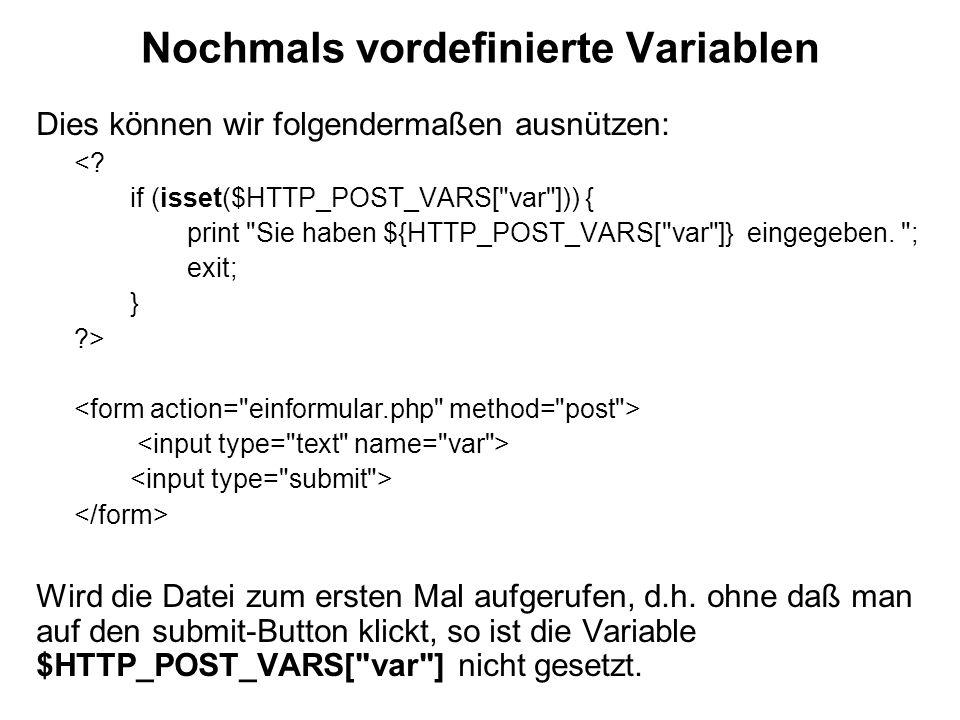Nochmals vordefinierte Variablen