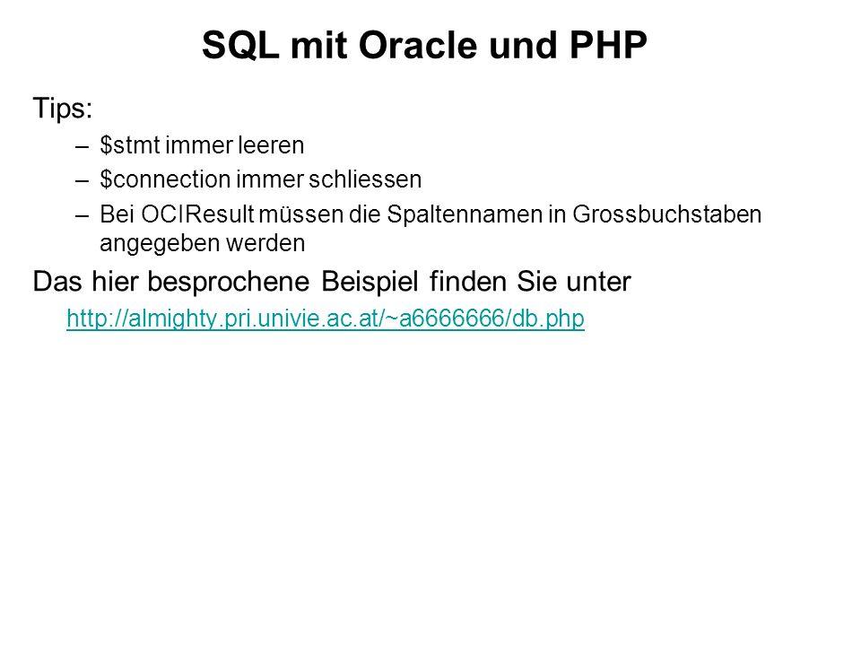 SQL mit Oracle und PHP Tips:
