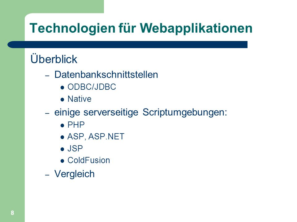 Technologien für Webapplikationen