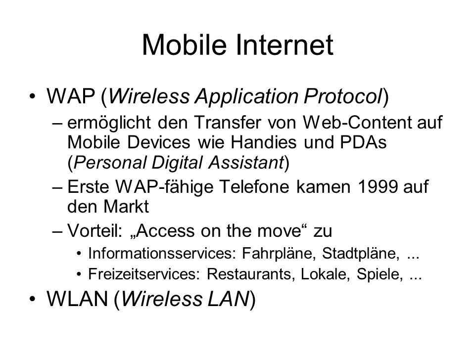 Mobile Internet WAP (Wireless Application Protocol)