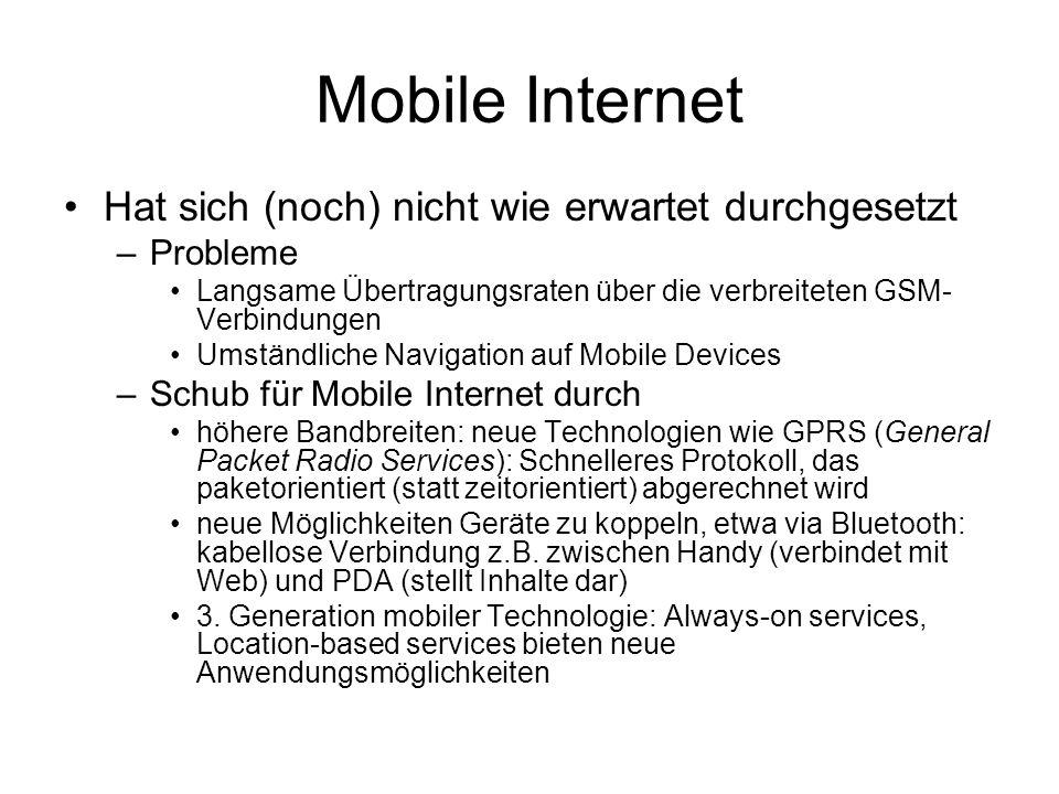 Mobile Internet Hat sich (noch) nicht wie erwartet durchgesetzt