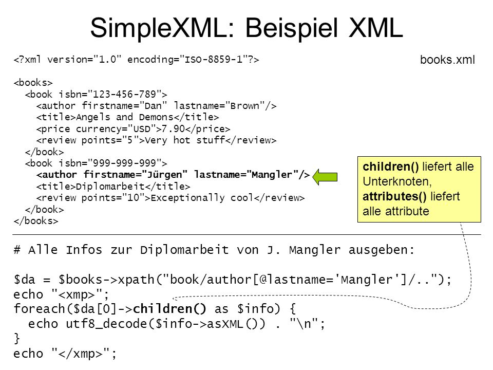 SimpleXML: Beispiel XML