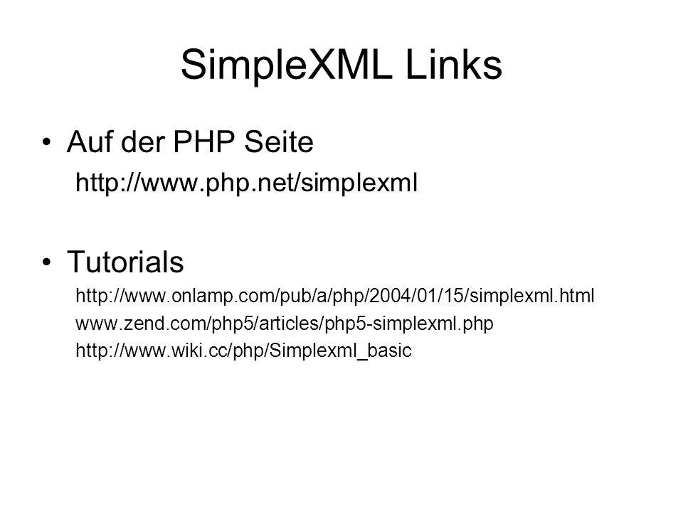 SimpleXML Links Auf der PHP Seite Tutorials