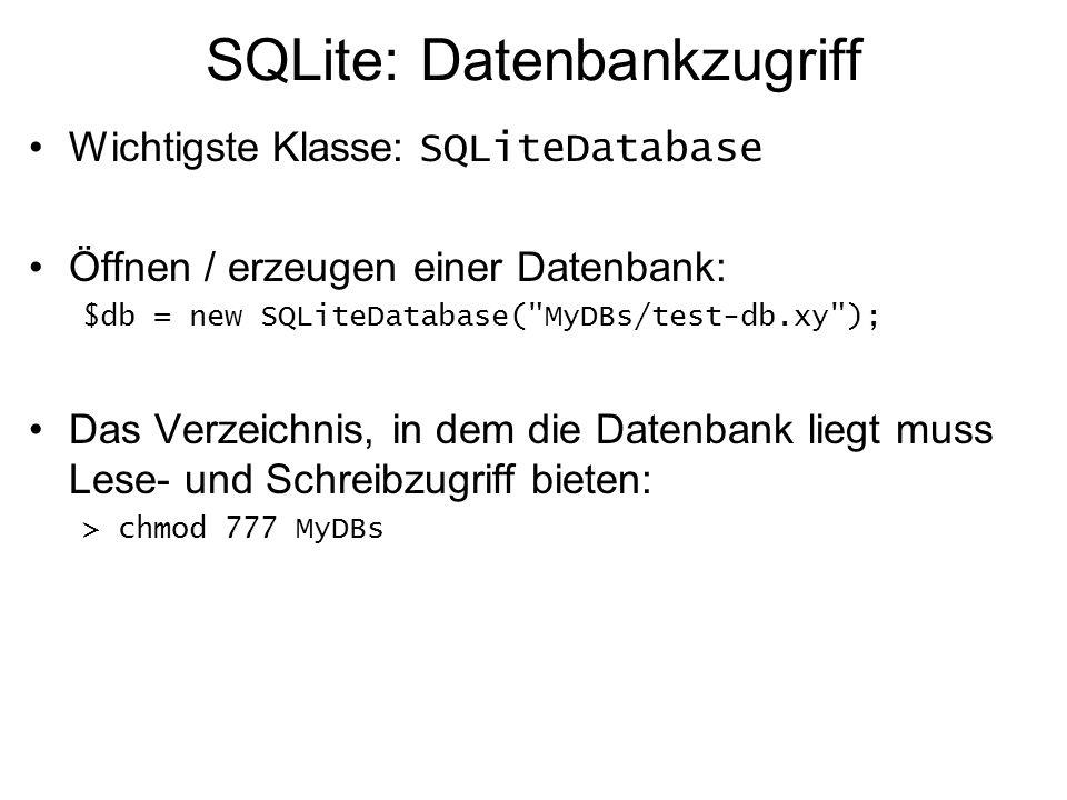 SQLite: Datenbankzugriff