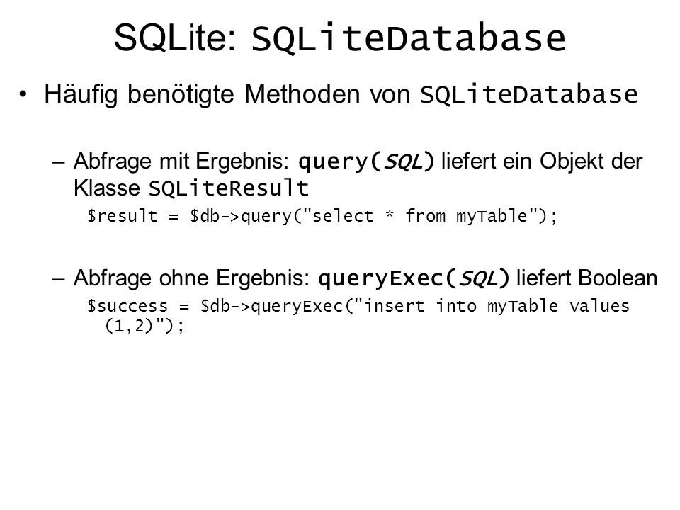 SQLite: SQLiteDatabase