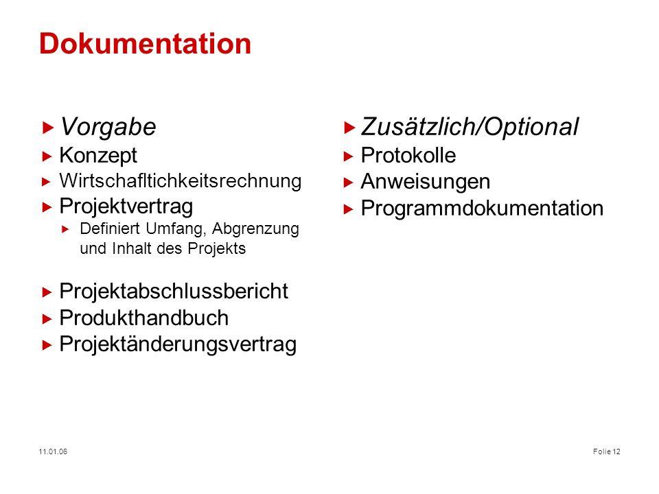 Dokumentation Vorgabe Zusätzlich/Optional Konzept Projektvertrag