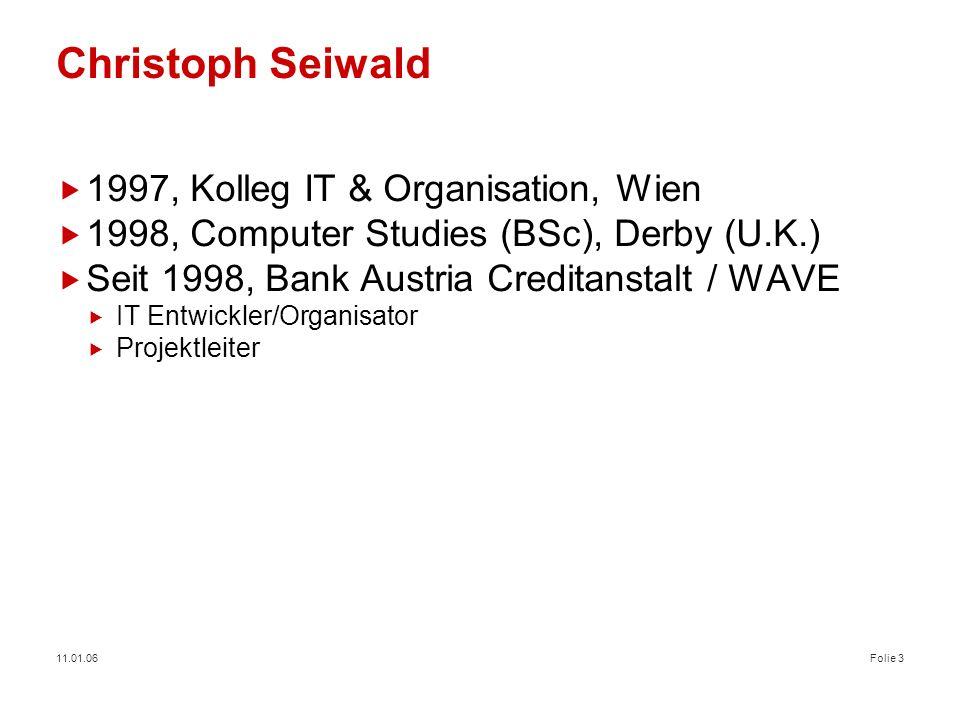 Christoph Seiwald 1997, Kolleg IT & Organisation, Wien