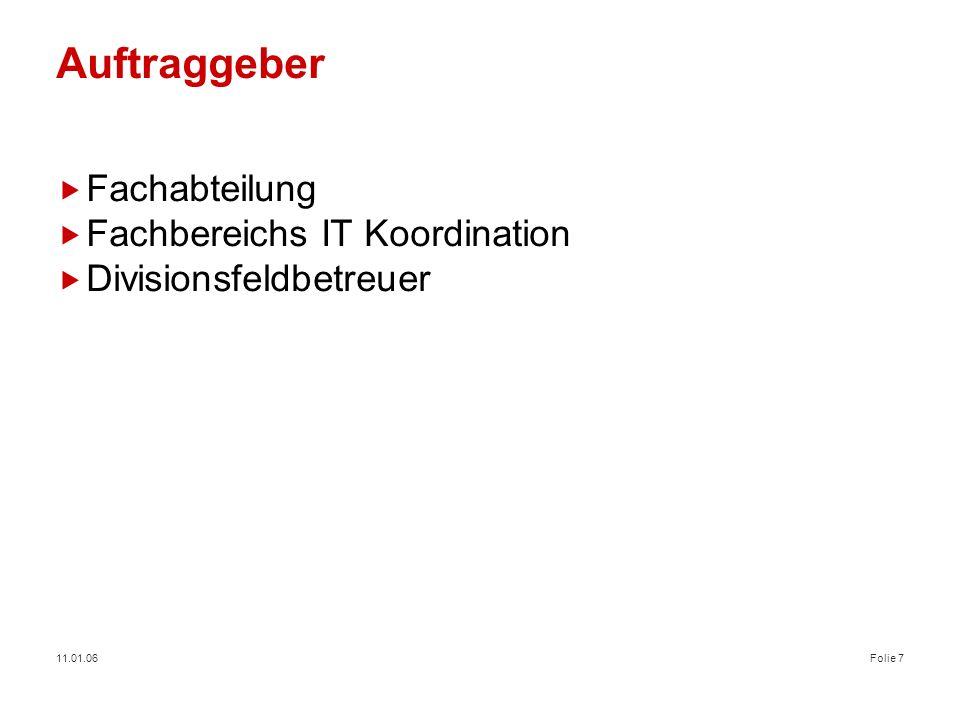 Auftraggeber Fachabteilung Fachbereichs IT Koordination