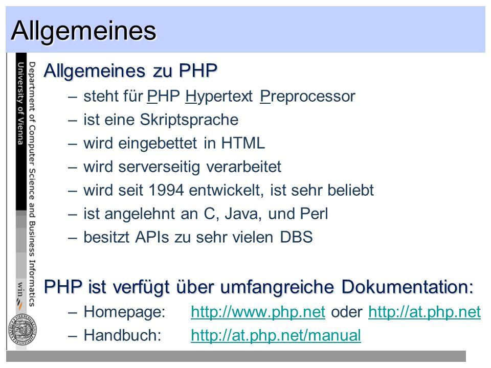 Allgemeines Allgemeines zu PHP