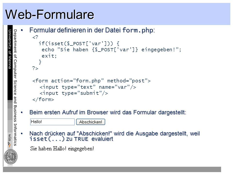 Web-Formulare Formular definieren in der Datei form.php: