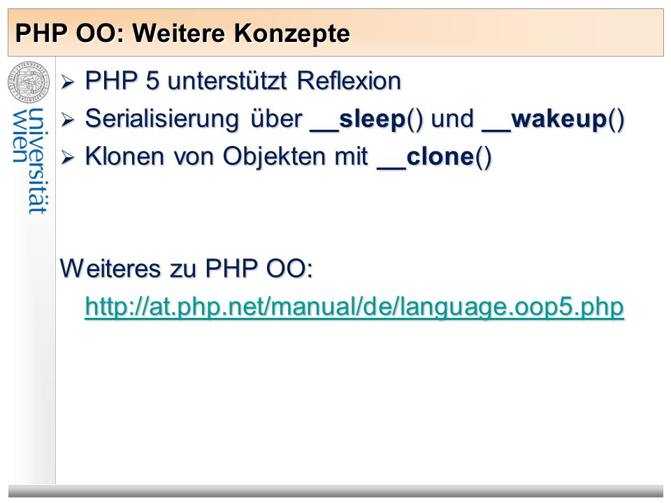 PHP OO: Weitere Konzepte