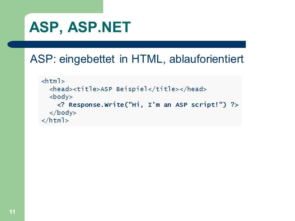 ASP, ASP.NET ASP: eingebettet in HTML, ablauforientiert