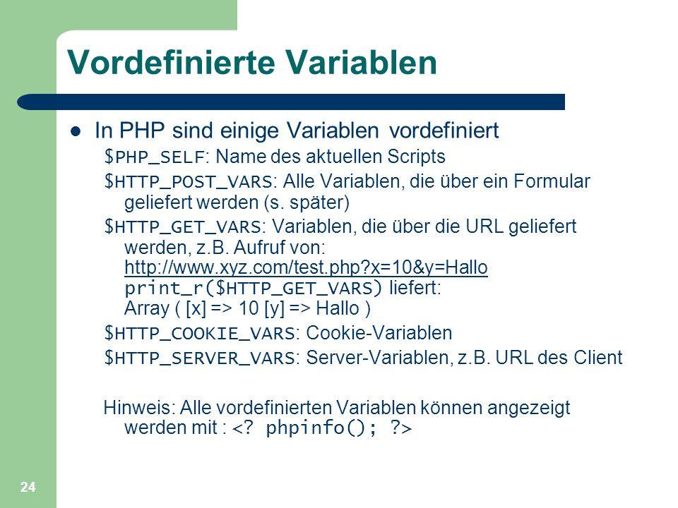 Vordefinierte Variablen