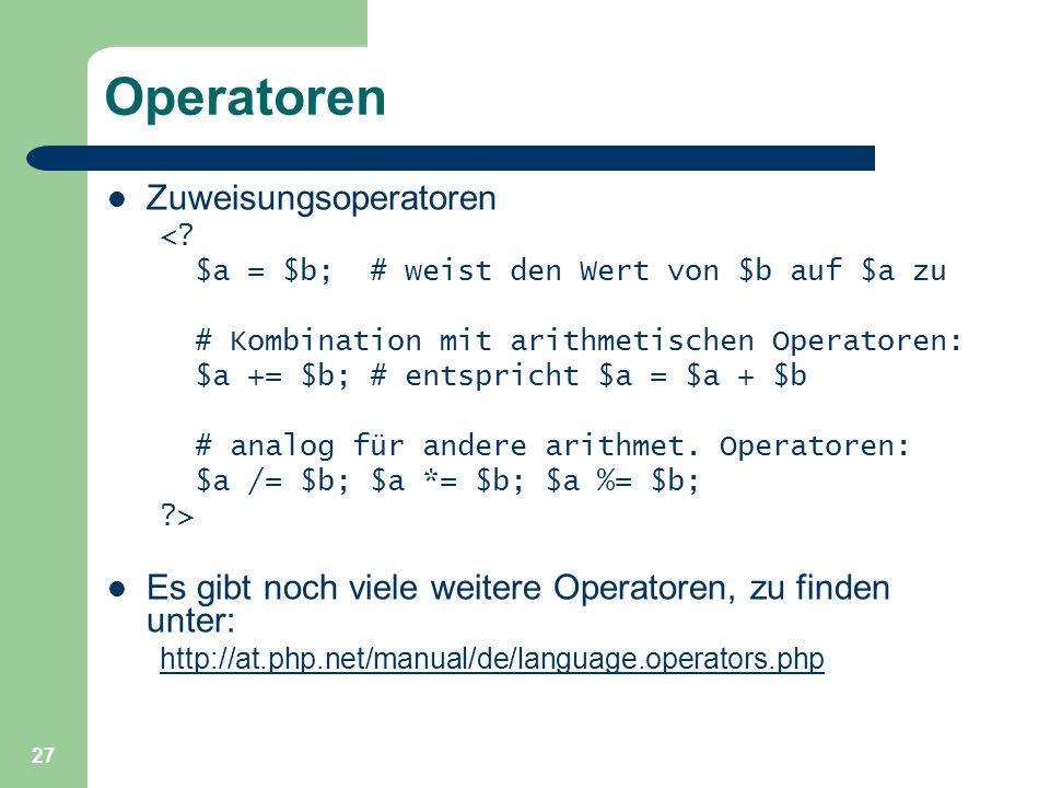 Operatoren Zuweisungsoperatoren