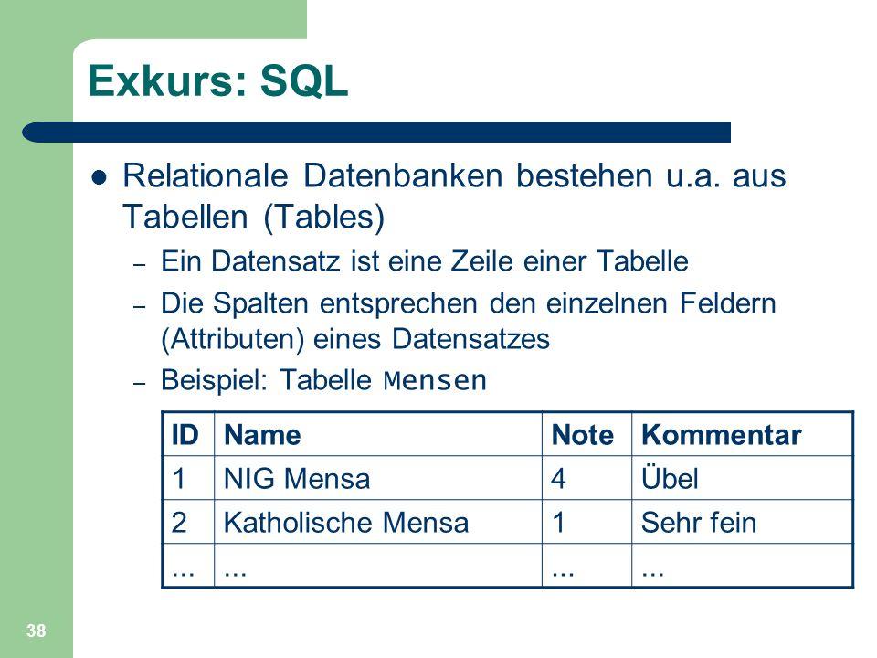 Exkurs: SQL Relationale Datenbanken bestehen u.a. aus Tabellen (Tables) Ein Datensatz ist eine Zeile einer Tabelle.