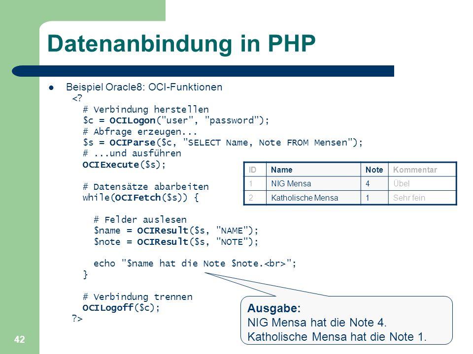 Datenanbindung in PHP Ausgabe: NIG Mensa hat die Note 4.