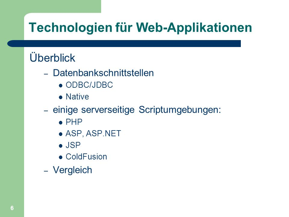 Technologien für Web-Applikationen