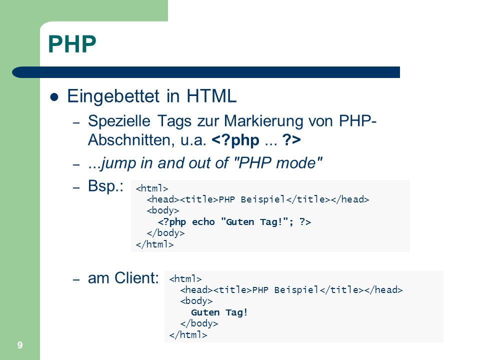 PHP Eingebettet in HTML