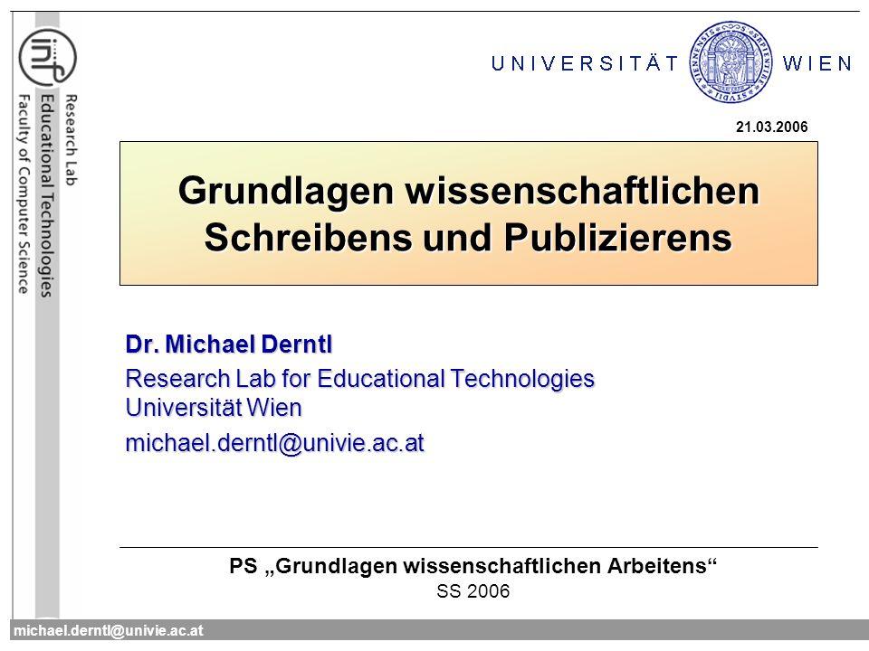 Grundlagen wissenschaftlichen Schreibens und Publizierens