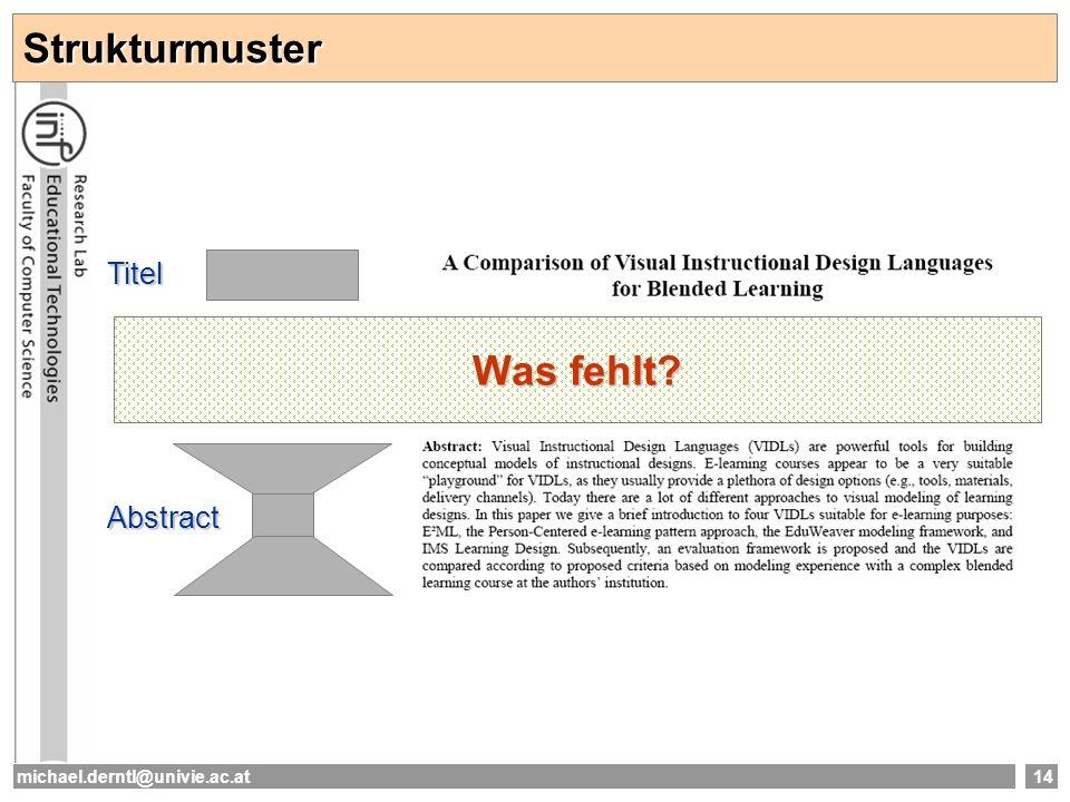 Strukturmuster Titel Was fehlt Abstract michael.derntl@univie.ac.at