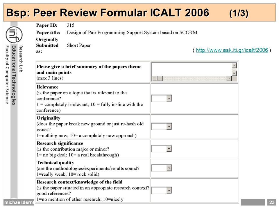 Bsp: Peer Review Formular ICALT 2006 (1/3)