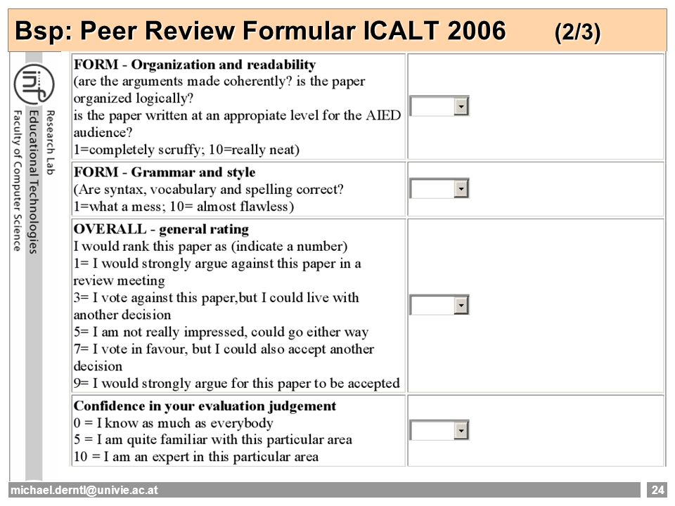 Bsp: Peer Review Formular ICALT 2006 (2/3)