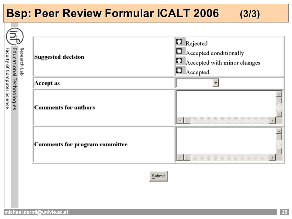 Bsp: Peer Review Formular ICALT 2006 (3/3)