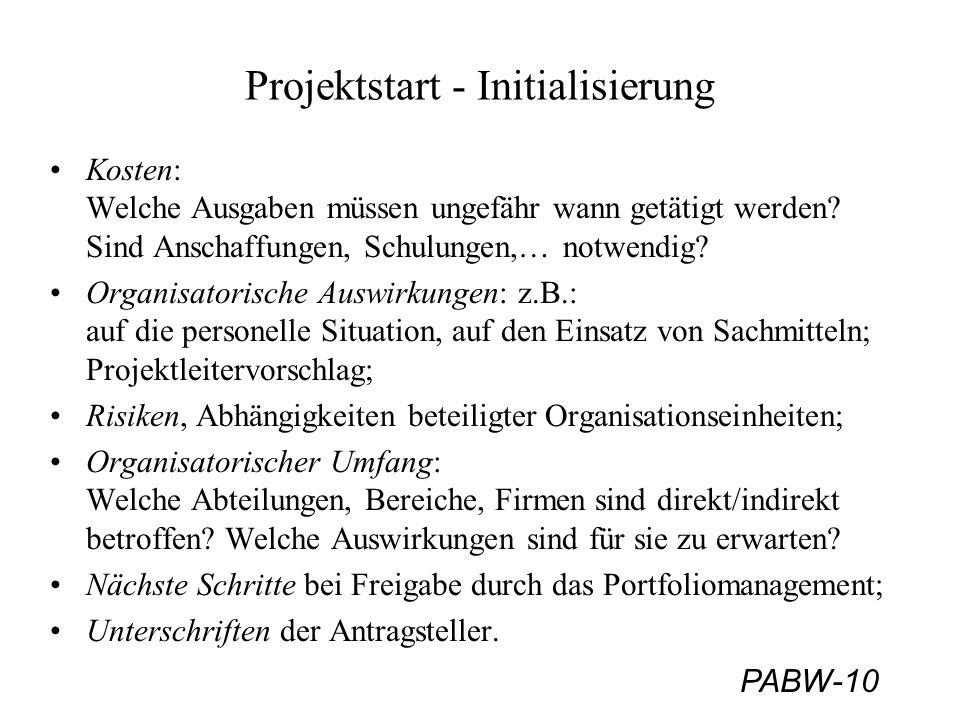 Projektstart - Initialisierung
