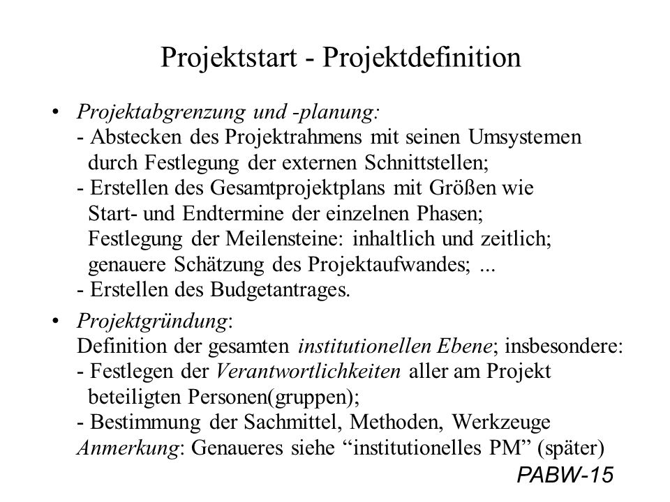 Projektstart - Projektdefinition