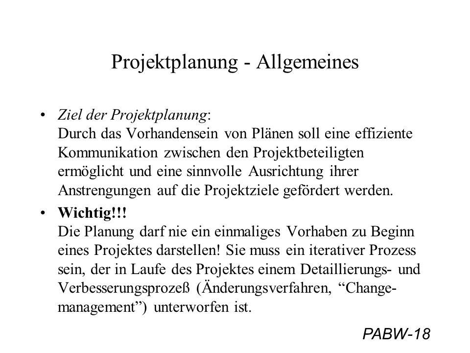 Projektplanung - Allgemeines