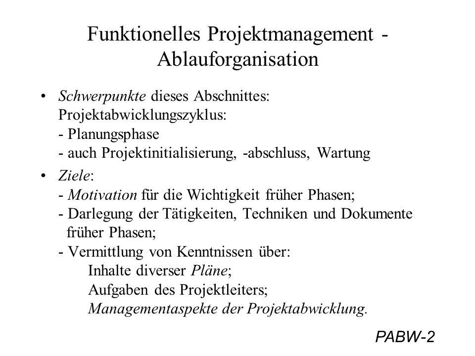 Funktionelles Projektmanagement - Ablauforganisation