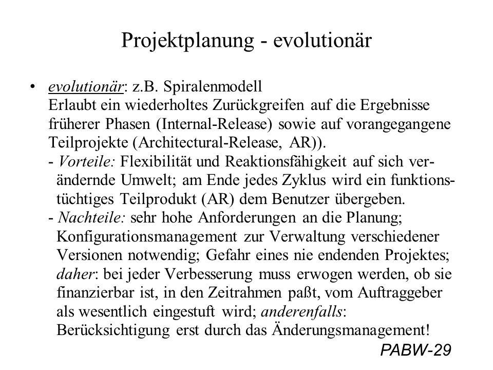 Projektplanung - evolutionär