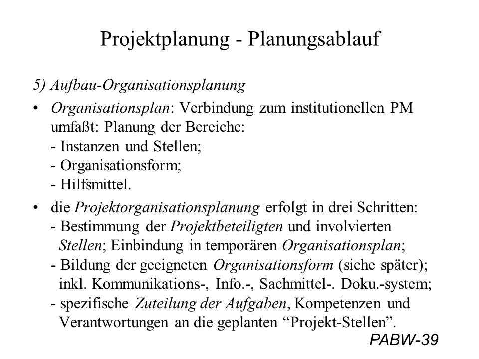 Projektplanung - Planungsablauf