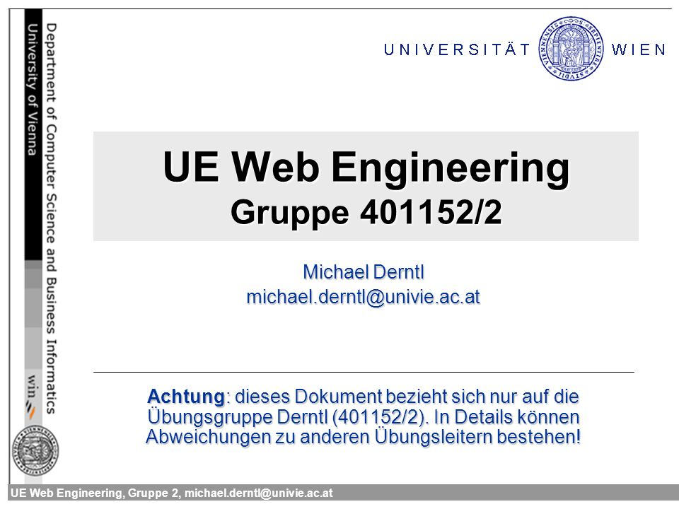UE Web Engineering Gruppe 401152/2