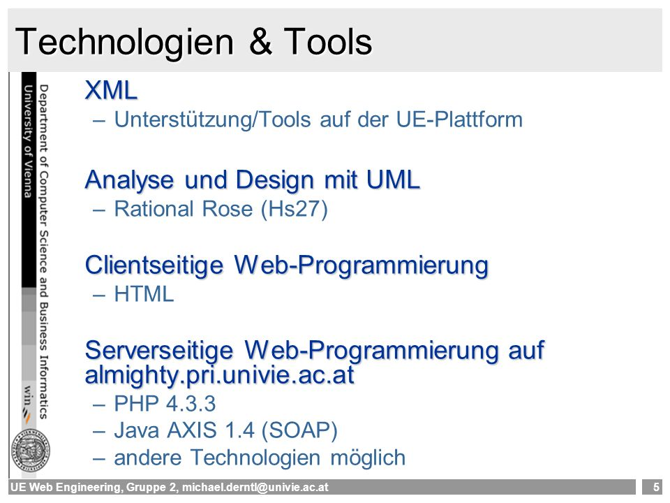 Technologien & Tools XML Analyse und Design mit UML